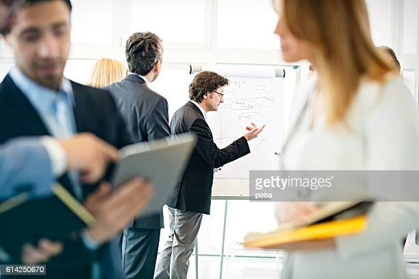 Businessman at flip chart talking to colleagues