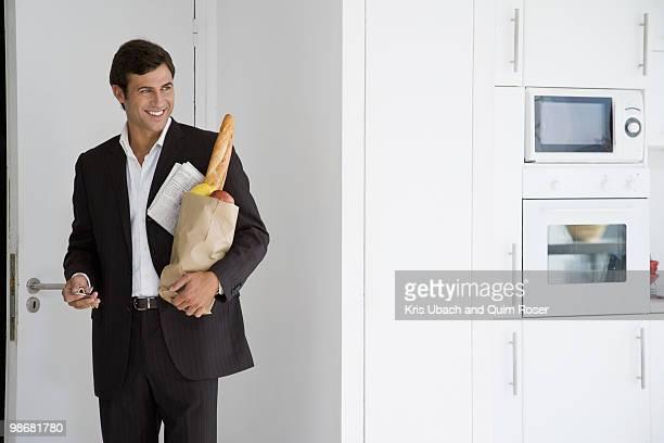 businessman at home - homens de idade mediana imagens e fotografias de stock