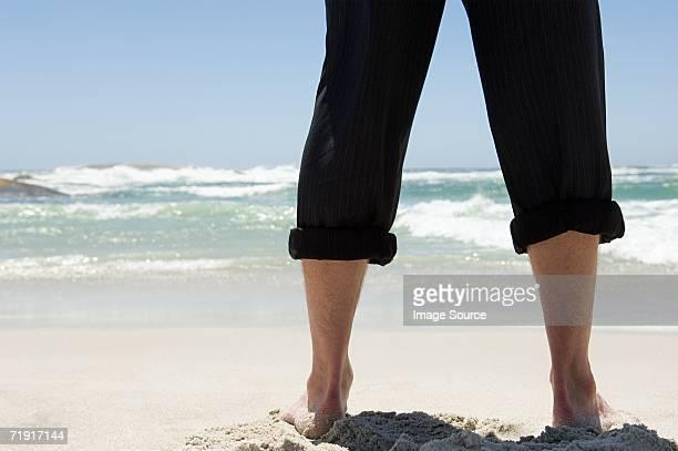 Businessman at the beach