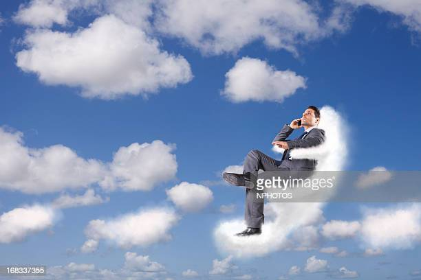Businessman at the cloud