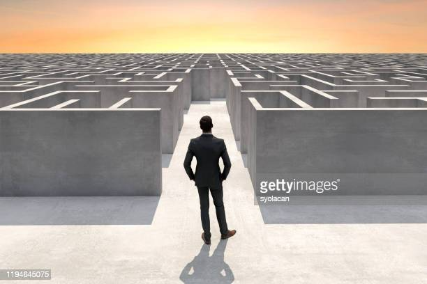 businessman at the entrance of a complex maze - syolacan stock pictures, royalty-free photos & images