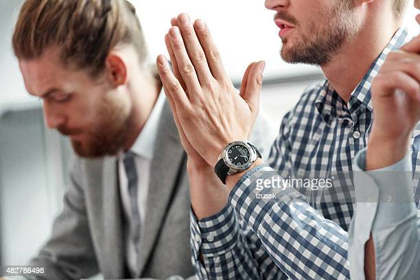 Businessman at work, close up of hands