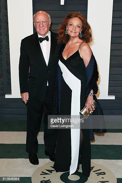 Businessman Barry Diller and fashion designer Diane Von Furstenberg arrive at the 2016 Vanity Fair Oscar Party Hosted by Graydon Carter at the Wallis...