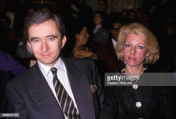 Businessman Bernard Arnault and wife at Lacroix fashion show in January 1989 in Paris France