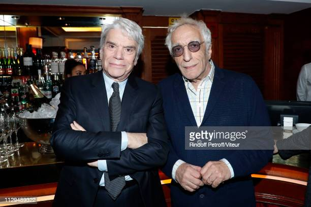 Businessman Bernard Tapie and actor Gerard Darmon attend Claude Lelouch receives the Insignia of Officer of the Legion of Honor at Club 13 on...