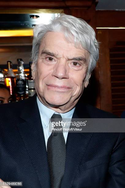 Businessman Bernard Tapie attends Claude Lelouch receives the Insignia of Officer of the Legion of Honor at Club 13 on February 13 2019 in Paris...