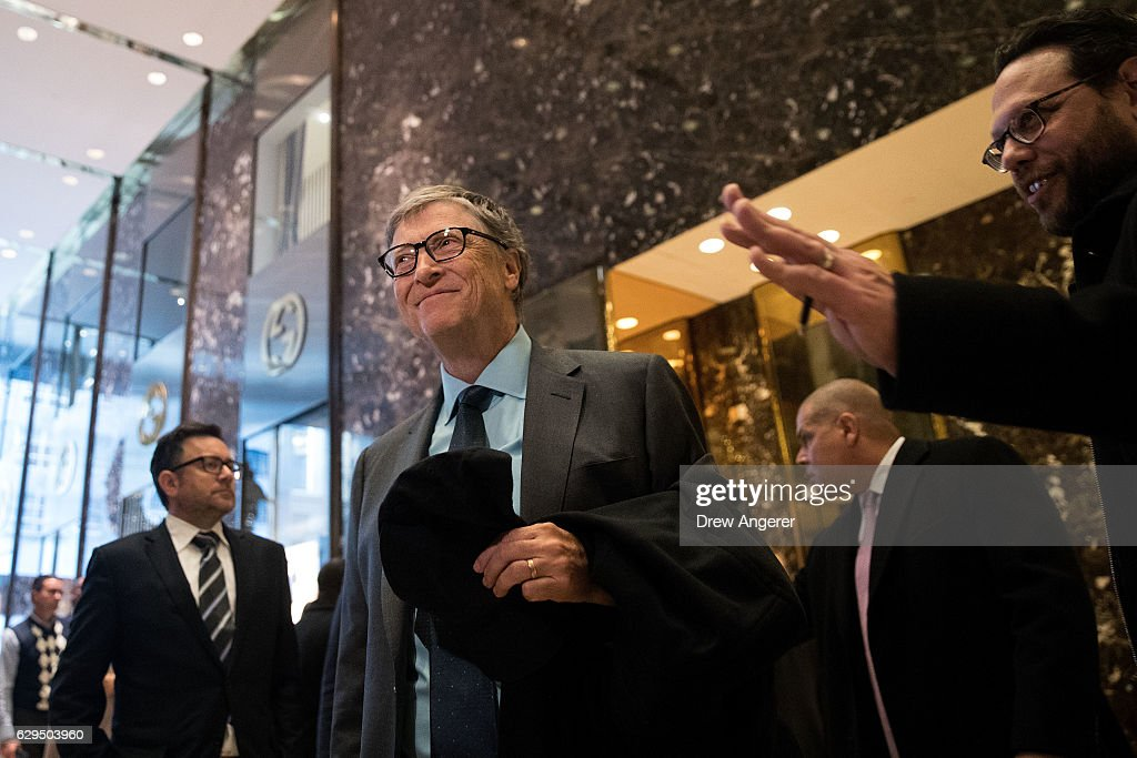 Businessman Bill Gates speaks to reporters at Trump Tower, December 13, 2016 in New York City. President-elect Donald Trump and his transition team are in the process of filling cabinet and other high level positions for the new administration.