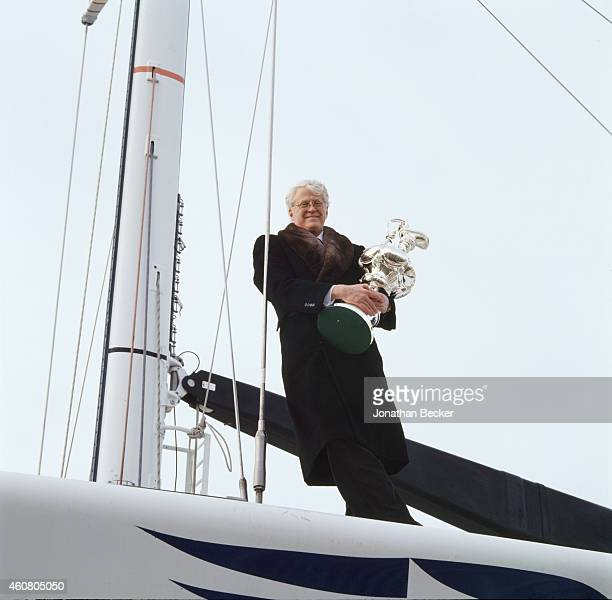 Businessman Bill Koch is photographed with his America's Cup for Fortune Magazine on January 10 1997 at the New York Yacht Club in New York City
