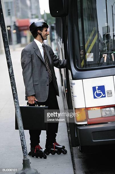 Businessman Boarding Bus