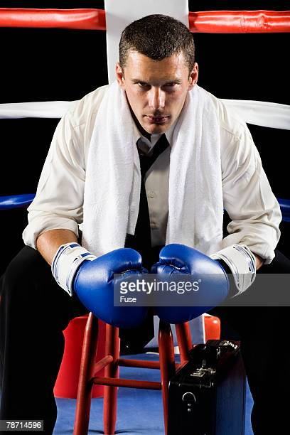 Businessman Boxer Ready for Fight