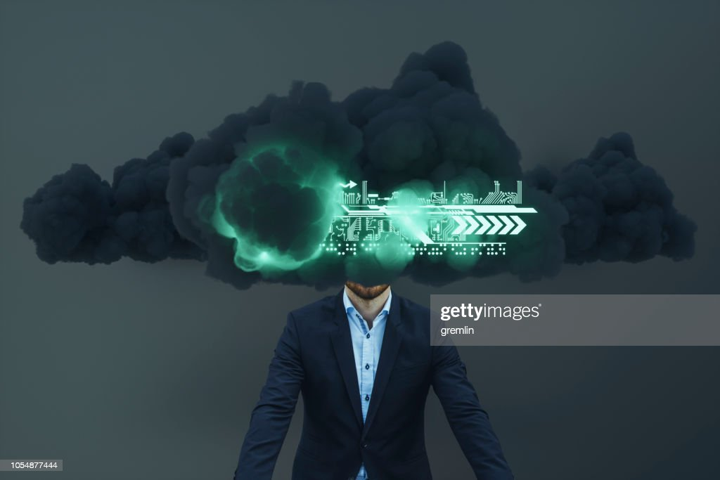 Businessman Brainstorming Cloud Computing Stock Photo