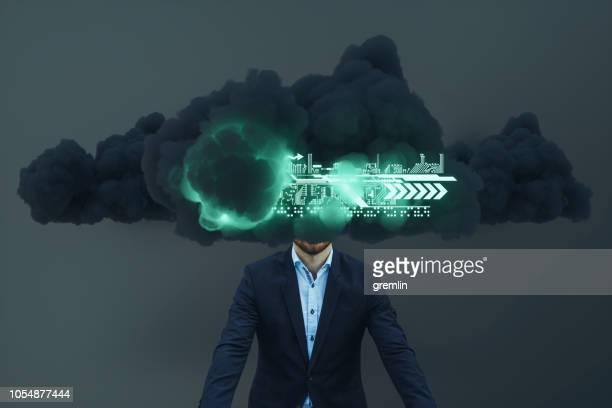 Businessman brainstorming, cloud computing