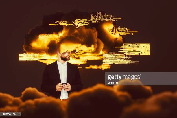 businessman brainstorming, cloud computing - excess stock photos and pictures