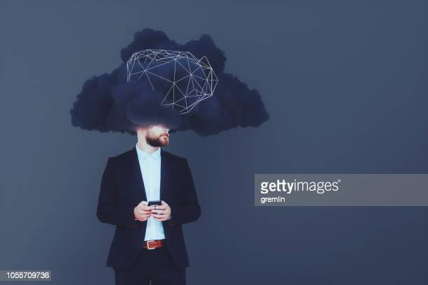 businessman brainstorming, cloud computing - hot desking stock pictures, royalty-free photos & images