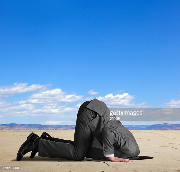 Businessman burying his head in the sand