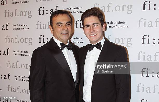 Businessman Carlos Ghosn and son Anthony Ghosn attend the 2013 Trophee Des Arts gala on November 15 2013 in New York City