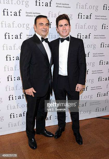Businessman Carlos Ghosn and son Anthony Ghosn attend the 2013 Trophee des Arts gala at 583 Park Avenue on November 15 2013 in New York City