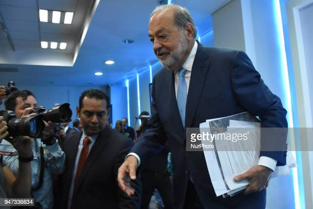 Businessman Carlos Slim during a press conference speak about of Mexico's airport construction at Inbursa Finance Group on April 16 2018 in Mexico...