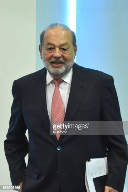 Businessman Carlos Slim Helu convenes a press conference to announce that he will support the victims of the September 19 earthquake through the...