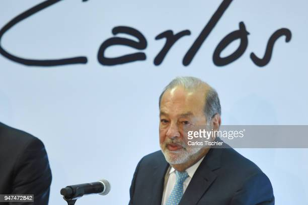 Businessman Carlos Slim looks on during a press conference to announce the construction of the New International Airport of Mexico City at Grupo...