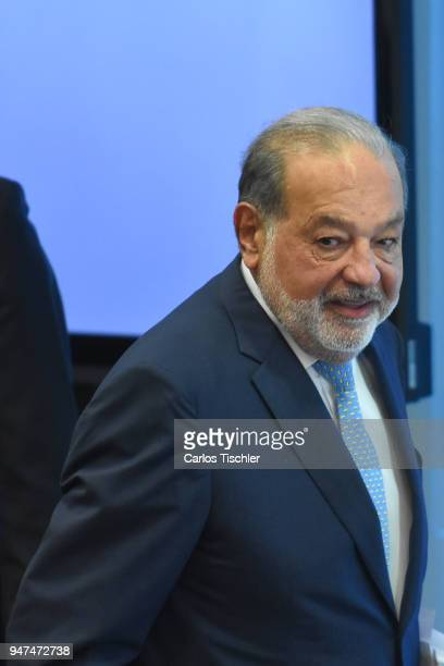 Businessman Carlos Slim looks on prior a press conference to announce the construction of the New International Airport of Mexico City at Grupo...