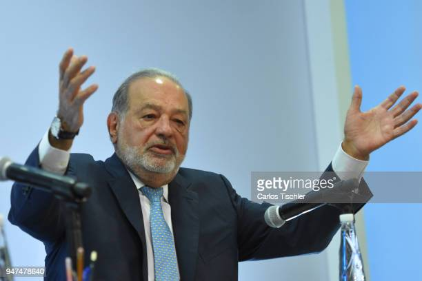 Businessman Carlos Slim speaks during a press conference to announce the construction of the New International Airport of Mexico City at Grupo...