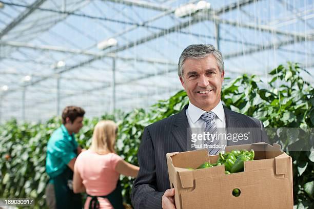 Geschäftsmann, tragen eine Schachtel Produkte im Gewächshaus