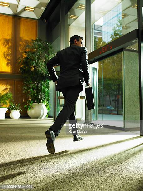 Businessman carrying briefcase leaving office building, rear view
