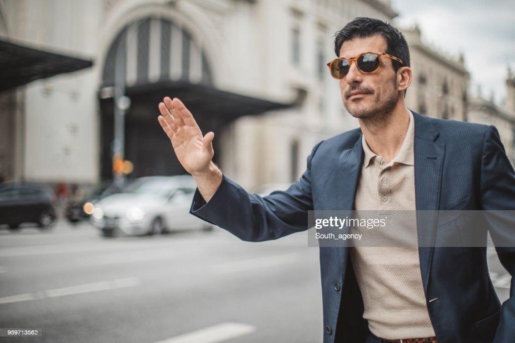 Geschäftsmann fangen Kabine : Stock-Foto