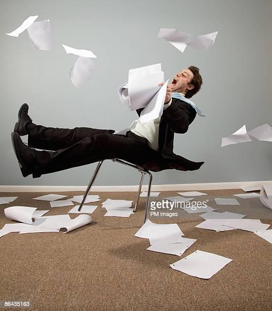 Businessman Caught in Wind