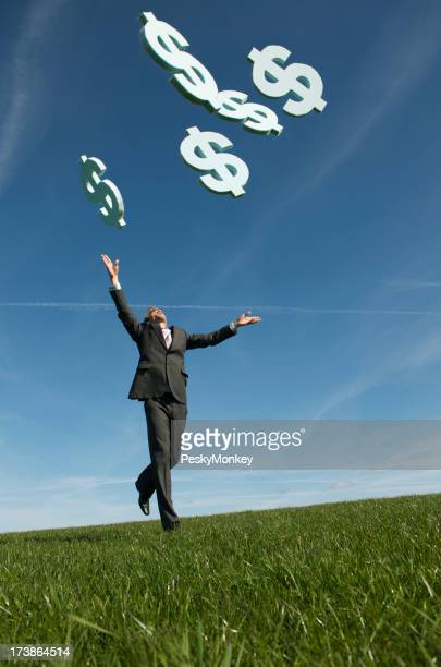 Businessman Chasing Dollars Falling from Blue Sky Green Meadow