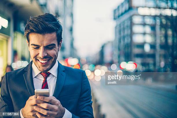 Businessman checking messages