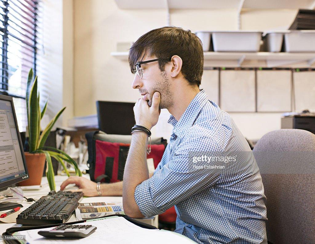 Businessman checks email : Stock Photo