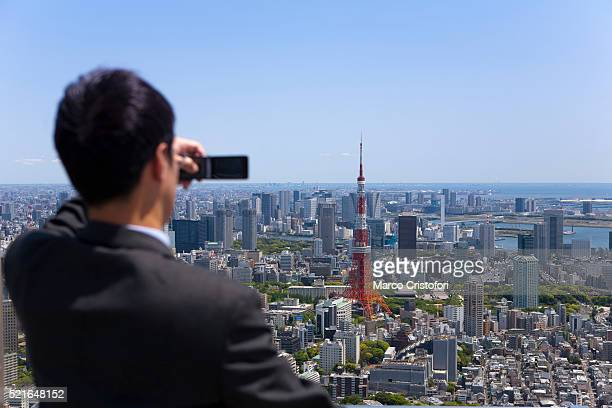Businessman, Cityscape of Tokyo from Roppongy Hills building, Tokyo, Japan, Asia