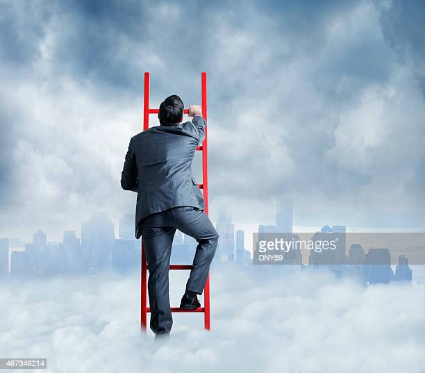Businessman Climbing A Ladder For A Better Look