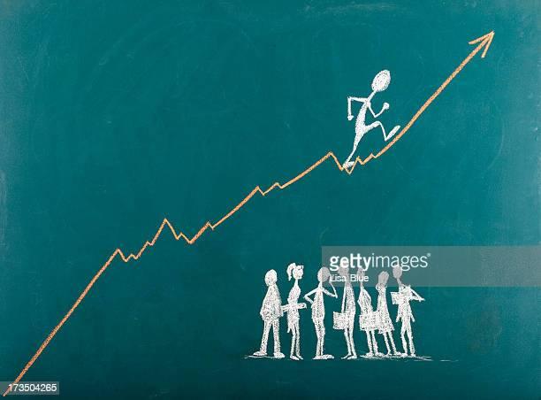 Ejecutivo del ascenso por la escalera del éxito