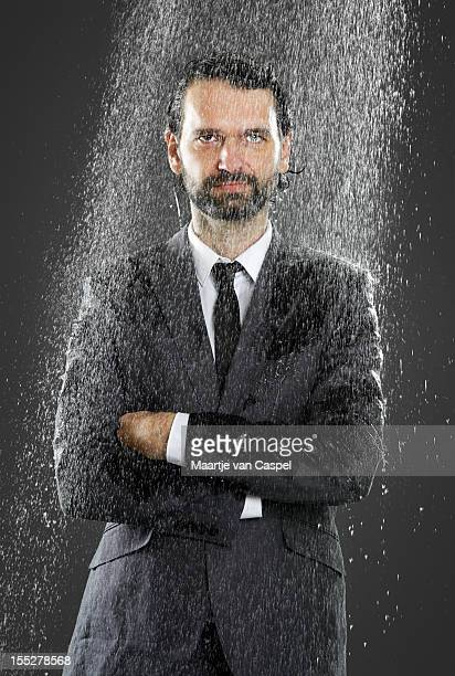 businessman - cold shower - wet stock pictures, royalty-free photos & images