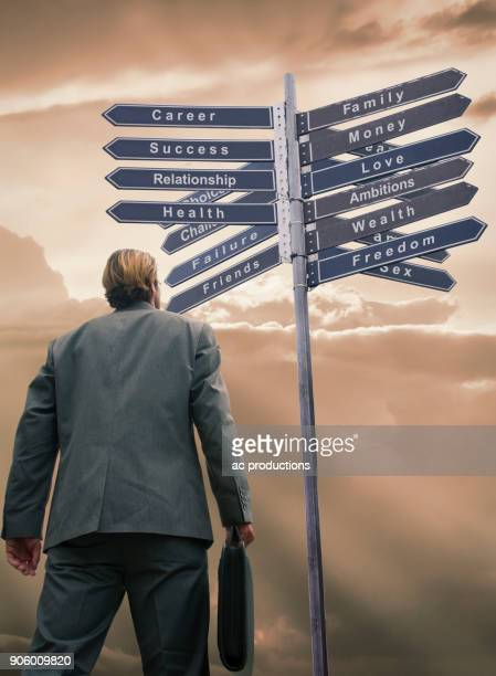 Businessman contemplating choices on sign