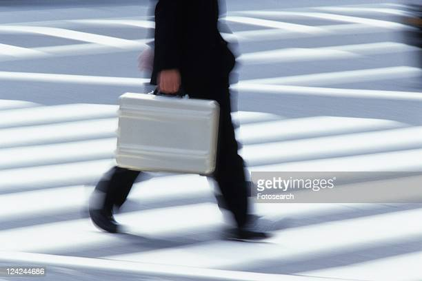 Businessman crossing at the crosswalk, side view, blurred motion, Tokyo, Japan