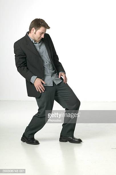 Businessman dancing in studio