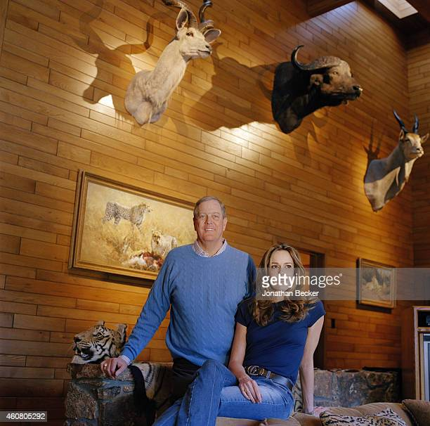 Businessman David Koch and wife Julia are photographed for Vanity Fair Magazine on December 27 2002 in Aspen Colorado
