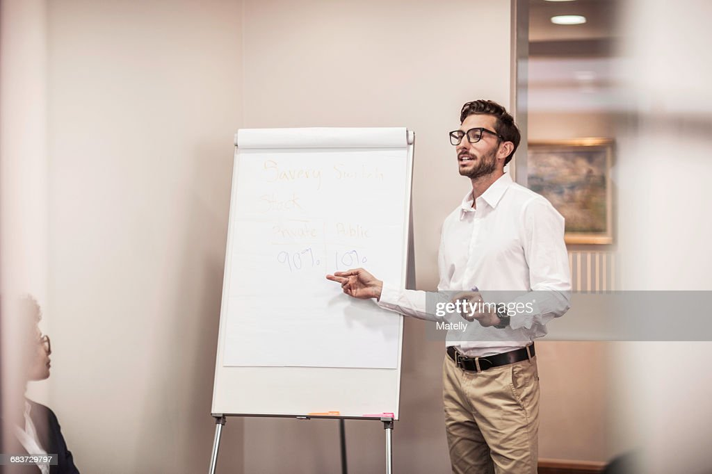 Businessman doing flipchart presentation in office : Stock Photo