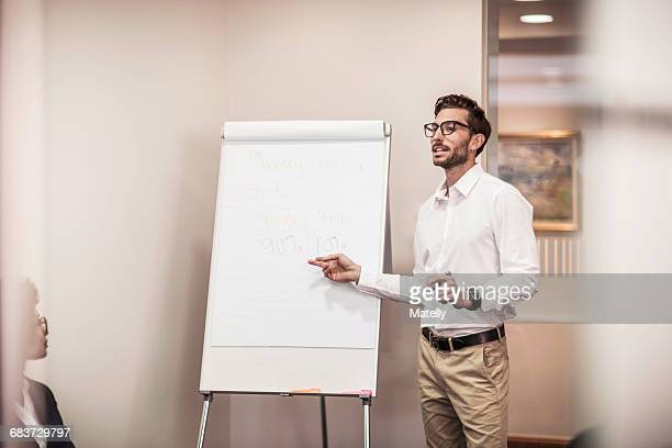 Businessman doing flipchart presentation in office