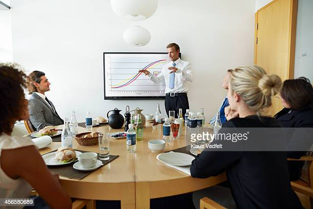 Businessman doing presentation at lunchmeeting