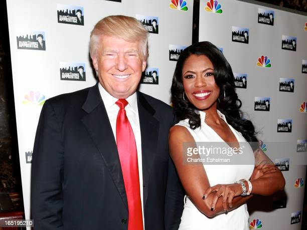 Businessman Donald Trump and actress Omarosa Manigault attend the AllStar Celebrity Apprentice Red Carpet Event at Trump Tower on April 1 2013 in New...