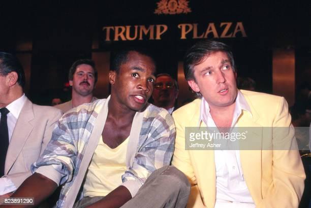 Businessman Donald Trump and Boxer Sugar Ray Leonard at Tyson vs Spinks press conference at Trump Plaza Casino Hotel in Atlantic City New Jersey June...