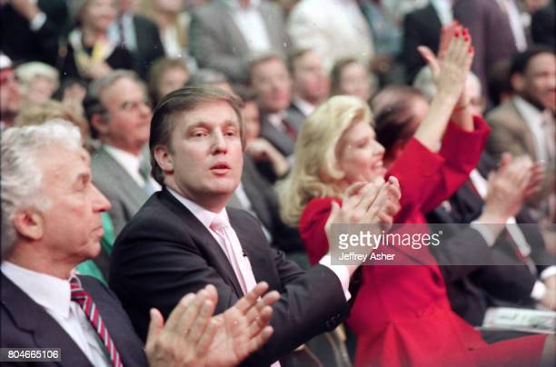 Businessman Donald Trump and first wife Ivana ringside at Tyson vs Holmes Convention Hall in Atlantic City New Jersey January 22 1988