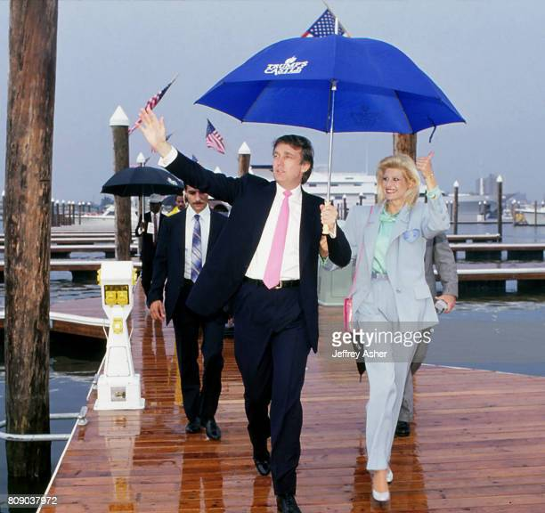 Businessman Donald Trump and first wife Ivana walking from Trumps Yacht The Trump Princess in Atlantic City New Jersey July 9 1988