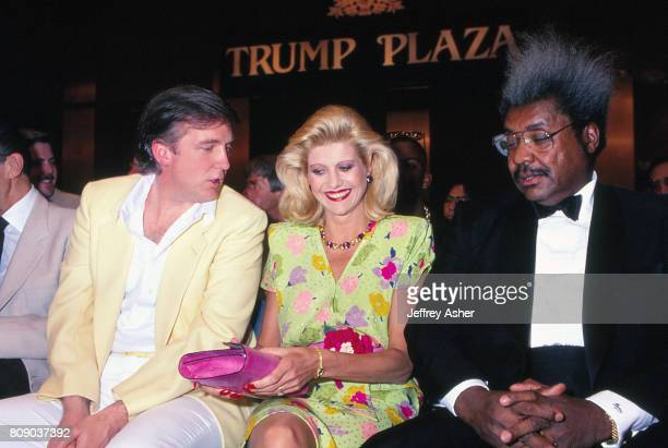 Businessman Donald Trump and first wife Ivana with Boxing Promoter Don King at Tyson vs Spinks weigh in at Trump Plaza Casino Hotel in Atlantic City...