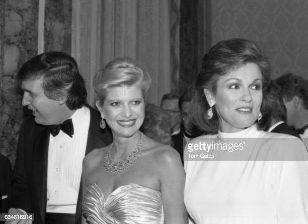 Businessman Donald Trump and his wife Ivana Trump and former Miss America Phyllis George attend the 90th birrthday celebration of Dr Norman Vincent...